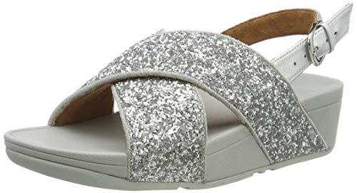 FitFlop Lulu Glitter Back-Strap, Sandalia con Pulsera para Mujer, Silver Silver 011, 38 EU