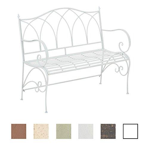 CLP Gartenbank ORKUN im Landhausstil, Eisen lackiert, 107 x 50 cm, 2er Sitzbank Weiß