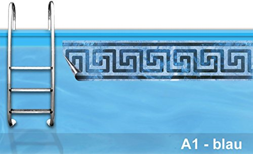 Bordüre Pool * Verzierung Poolrand * Borte Poolbecken * Randstreifen Swimmingpool *A1 blau