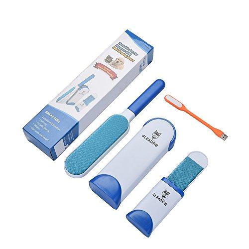 GLEADING Remueve-Pelusa Mágico-Removedor de Pelaje de Mascota- Reutilizable, con Cepillo Limpiador Compacto