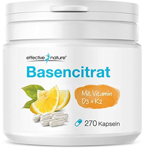 Effective Nature - Basencitrat | Mit Vitamin D3 & K2 | Natürlicher Verbund mit Zitronenpulver | Zur Unterstützung eines normalen Säure-Basen-Haushalts | Vegan | 270 Kapseln