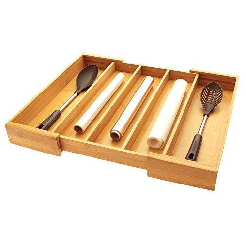 Woodquail Bandeja para Cubiertos, Ajustable Organizador para Cajones de Cocina, Hecho de Bambú Natural (5 Compartimentos)