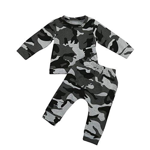 Xshuai Neugeborene Baby Jungen Outfits Kleidung Camouflage T-Shirt Tops + Lange Hosen (0-6 Monate, Grau)