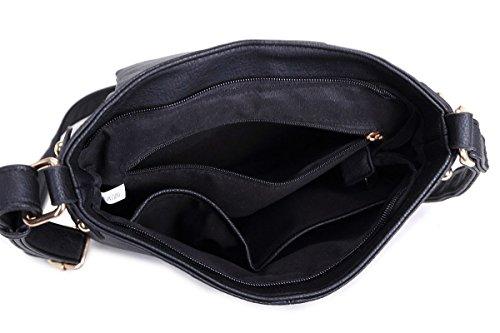 LeahWard® Herren Damen Segeltuch Satchel Handtaschen Damen Schule Kuriertaschen 2039 160434 BURGUNDY Doppelt Tasche