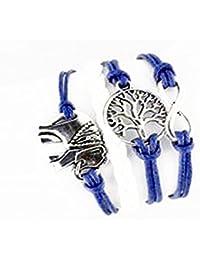 CargoMix Armband Unendlichkeit Geflochtene Blue Leder-Seil / Infinity / Elefant/ Baum / Armband Charm Mode-Legierung Damen Schmuck