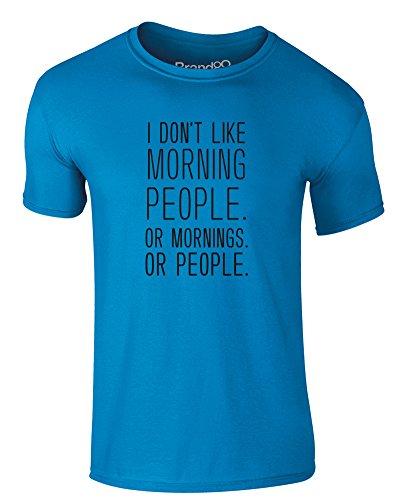 Brand88 - I Don't Like Morning People, Erwachsene Gedrucktes T-Shirt Azurblau/Schwarz