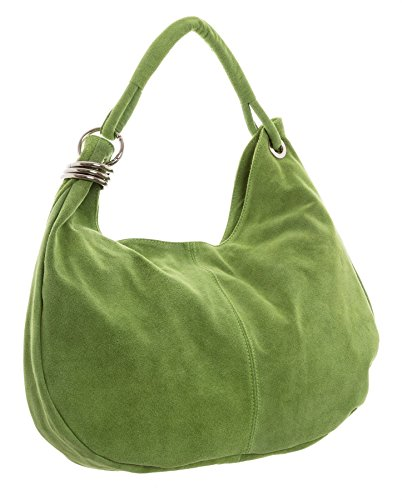 Big Handbag Shop - Borsa a spalla da donna, grande, in vera pelle scamosciata italiana Lime Green (HR657)