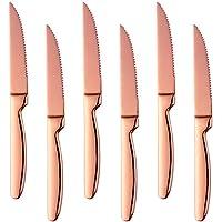Bisda Acero Inoxidable Oro Rosa Nitidez Carne Cuchillo, 6 Piezas 18/0 Elegante Diseño