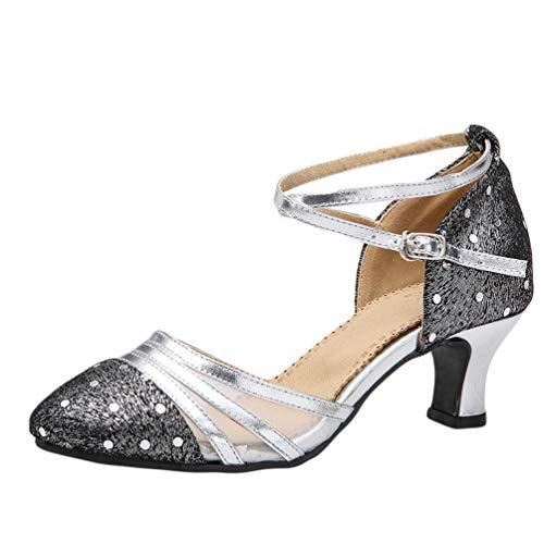 CHENYANG Frauen Geschlossene Zehe Tanzschuhe Latein Salsa Tango Ballroom Tanzen Schuhe für Lady Silber 38
