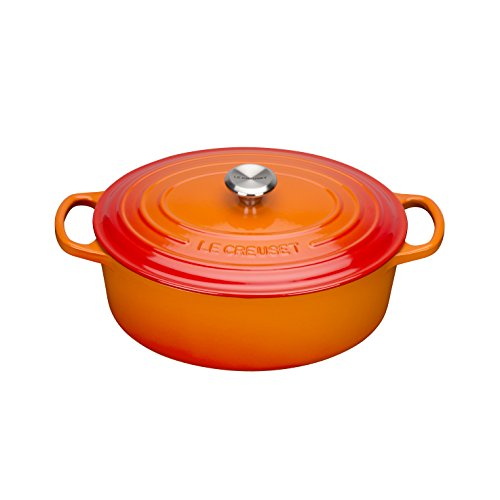 Le Creuset Gusseisen Bräter Signature oval 27 cm, ofenrot