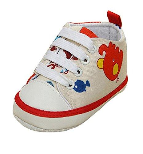 Ularma Cartoon toile glissement fond mou enfant chaussures bébé (11CM, bleu clair) rouge
