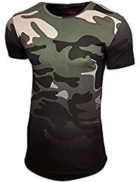 Herren T-Shirt Kurzarm Camouflage Motiv Figurbetont Shirt Fashion Vintage 15119