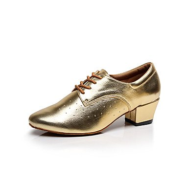 Silence @ Chaussures de danse pour femme en cuir Cuir latine/danse Sneakers/Chaussures de swing/grosse Heelpractice doré