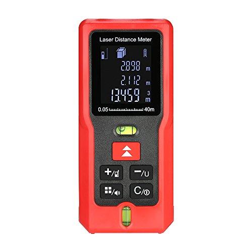 KKmoon Laser Entfernungsmesser Handheld 【mit 2 Wasserwaagen/verwendet in Bau und Industrie】 40m