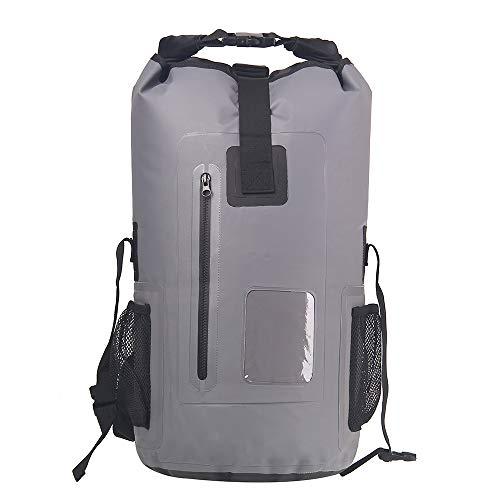 30L Roll Top Rucksack Backpack Packsäcke Dry Bag Sack Wasserdicht Regenschutz (Grau)