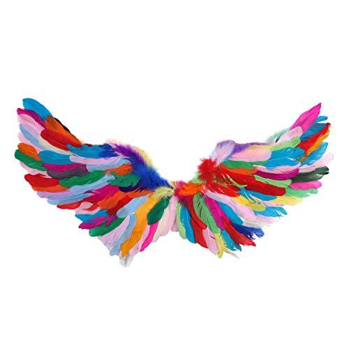 Tiaobug Bunte Flügel Mode Faltbare Fee Engel Vogel Federflügel für Kinder Erwachsene Fotografie Maskerade Halloween Cosplay Party Kostüm Zubehör Bunt Medium