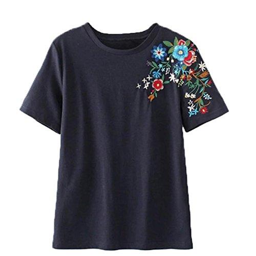 VENMO Frauen Blume Stickerei-Hemd Kurzarm Blusen-T-Shirts Damen Casual Tops Navy