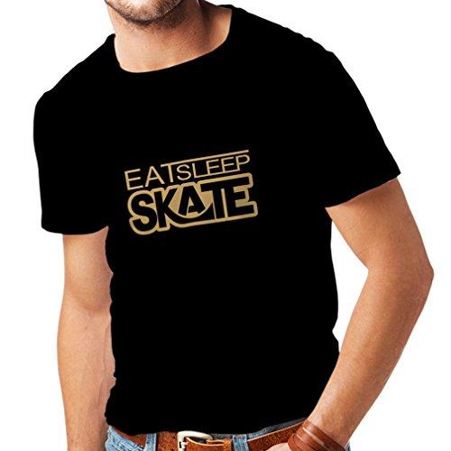 lepni.me Männer T-Shirt Eat - Sleep - Skate - für Skater, Skate Longboard, Skateboard Geschenke (XX-Large Schwarz Gold)