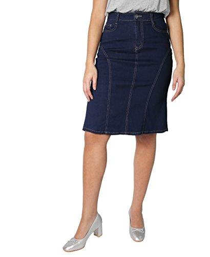 KRISP Panelled Regular A-Line Denim Skirt (Marineblau, Gr.36) (2117-NVY-08) (Denim-bleistift-rock Bleistift)