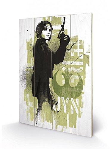 Preisvergleich Produktbild 1art1 101434 Star Wars - Rogue One,  Jyn Erso Poster Auf Holz 60 x 40 cm