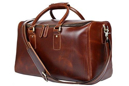 BAIGIO Damen Herren Retro Leder Reisetasche Weekender Sporttasche Schultertasche Reisegepäck Freizeittasche Groß Handgepäck sehr Praktisch Echtes Leder Umhängetasche Tasche,Braun