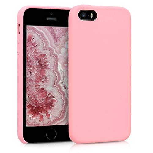Kwmobile cover compatibile con apple iphone se / 5 / 5s - custodia in silicone tpu - back case protezione cellulare rosa chiaro