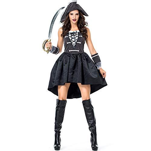 Weiblich Kostüm Piraten - Hallowmax Damen Cosplay Halloween Kostüm Seeräuberin Schwarzes Kleid mit Schleife Weiblicher Pirat Kapitän M-XL