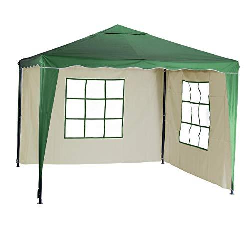 Silvertree Pavillon-Set Tim 3 x 3 m inkl. 2 Seitenteile mit Fenster, Farbe Grün/Beige