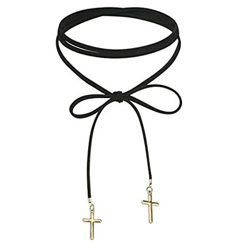 AMDXD Jewelry Stainless Steel Women Choker Necklaces Gold Black Double