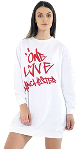 Ladies Girls Love Manchester Sweatshirt EUR EUR Taille 36-44 T-shirt blanc