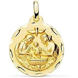 Médaille pendentif Baptême 18mm en or 18 carats. bord découpé de colombe [AC0950GR] - personnalisable - ENREGISTREMENT inclus dans le prix