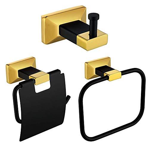 JJHR Bad-Accessoires Badezimmer-Hardware-Set Kleiderhaken Handtuchhalter Rack Bar Bar Papierhalter Schwarz Und Gold (Bad Accessoires Set Gold)