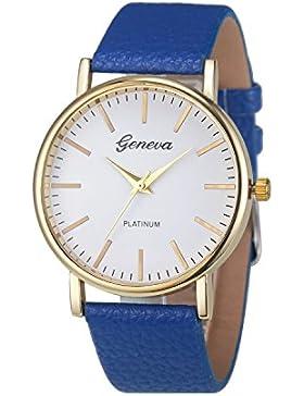 XLORDX Geneva Uhren,Luxus Damen Herren Armbanduhr Lederarmband Damenuhr Vogue Analog Qaurzuhr Blau