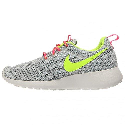 Nike Roshe Run, Chaussures de running fille Platinum/Volt-Pink-Blue Lagoon