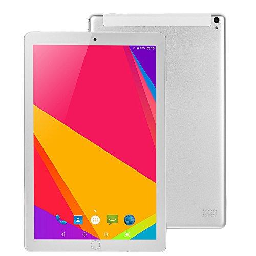 Coloré(TM) 10.1 Les Tablettes Tactiles 3G, Tablette Grand Ecran V Mobile, Bluetooth WiFi, 32 Go, 2 Go de RAM, Doule SIM Camera, Android 7.0, Quad Core (Argent)