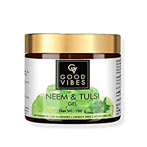 Good Vibes Neem and Tulsi Gel - 100 g - Promotes Hair Growth - Prevents Blackheads, Acne and Uneven Skin Tone - Hairfall and Dandruff Treatment - Cruelty Free