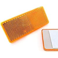 227s - Reflectores rectangulares de 90 x 40mm - Autoadhesivos - Para remolques - Ámbar - Pack de 2
