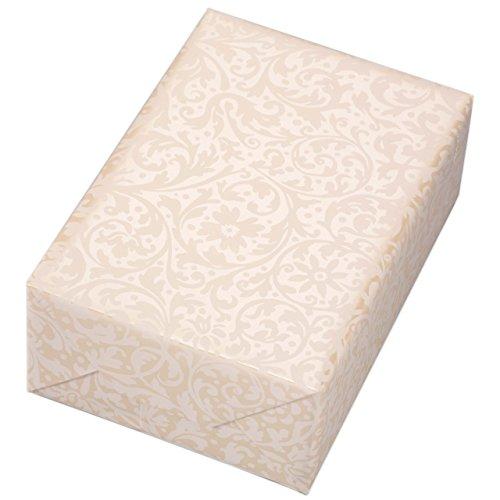 Geschenkpapier 3 Rollen, Motiv Brokat beige ornamentales Geschenkpapier in mattem weiß, auf Perlglanz crème veredeltem Fond. Für Geburtstag, Hochzeiten und festlichen Anlässen. Edel und hochwertig.