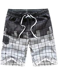 3e60bece3e9d4 Mr.Stream Men's Plaid Casual Polyester Tropical Surfing Swim Trunks Mesh  Lining Board Shorts