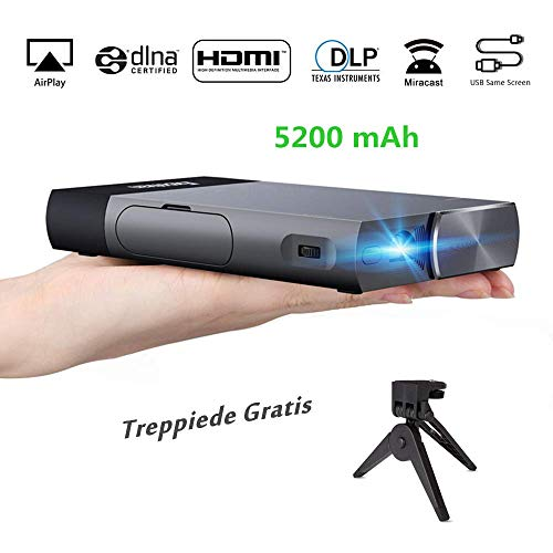 Proyector portátil Excelvan S1 DLP Mini Proyector LED con HDMI para iPhone/Android/Juegos/portátil/TV Box Videoproyector 1080P Full HD Ideal para Guardare Film Partite y Giochi, Nero-Argento