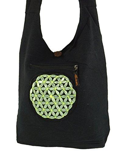 Guru-Shop Besticktes Sadhu Bag, Goa Tasche Schulterbeutel - Braun, Herren/Damen, Baumwolle, 36x38x10 cm, Bunter Stoffbeutel Schwarz/Grau