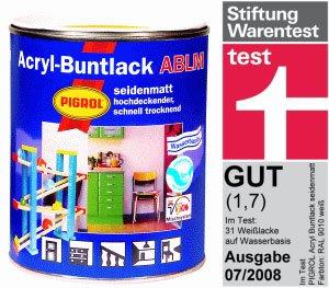 PIGROL Acryl-Buntlack ABLM - seidenglanz - 2,5 Ltr. (tiefschwarz (RAL 9005))