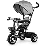 Fascol Dreirad 6 in 1 Kinderdreirad Kinder Fahrrad Baby Kleinkinder mit Lenkbarer Schubstange, mit FlüSterleise Gummireifen und Sonnendach für Jungen und Mädchen ab 12 Monate -5 Jahre