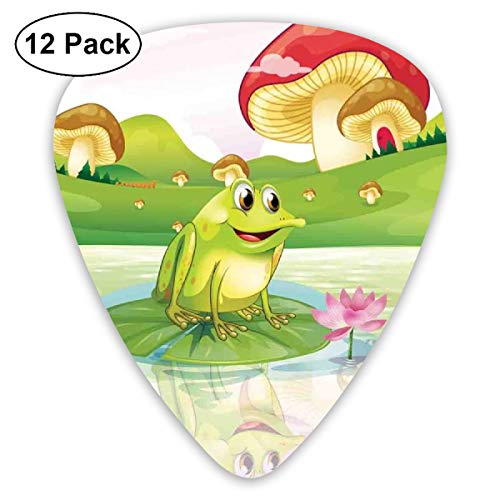 Guitar Picks - Abstract Art Colorful Designs,Illustration Of Cute Frog On Water Lily With Mushrooms On The Background Nature Lake,Unique Guitar Gift,For Bass Electric & Acoustic Guitars-12 Pack -