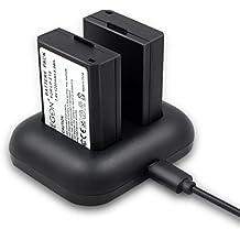 ENEGON Batería de repuesto (paquete de 2) y cargador rápido rápido para Canon LP-E10 y Canon EOS Rebel T3, T5, T6, Kiss X50, Kiss X70, EOS 1100D, EOS 1200D, EOS 1300D Cámara digital