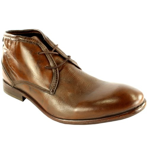 Homens H Por Couro Cruzeiro Hudson Rendas Sapatos Baixos Sapatos Ankle Boots Tan
