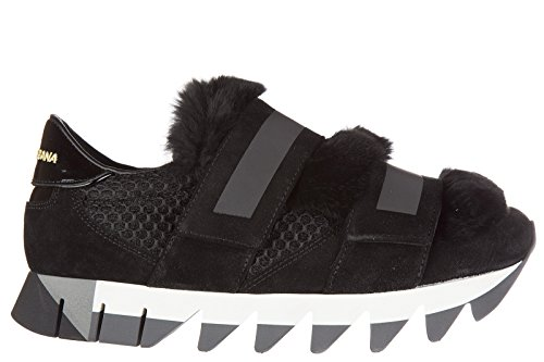 Dolce&Gabbana women's shoes leather trainers sneakers capri black