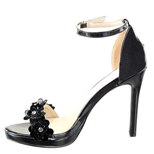 Angkorly Damen Schuhe Sandalen Pumpe - Stiletto - Sexy - Schick - Blumen - Strass - String Tanga Stiletto High Heel 10.5 cm Schwarz