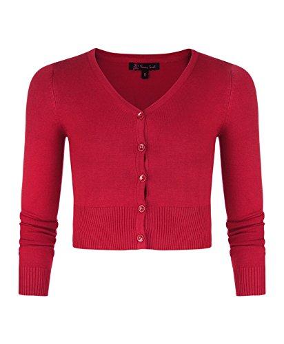Mädchen Langärmelig Bauchfreie Strickjacke Kinder V-ausschnitt Feinstrick Pullover Top - Synthetisch, Rot, 20% nylon 80% viskose, Mädchen, 122-128/7-8 Jahre