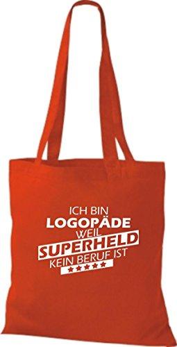 Shirtstown Stoffbeutel Ich bin Logopäde, weil Superheld kein Beruf ist rot
